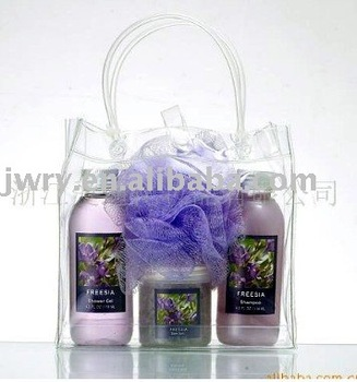 4PCS LAVENDAR SCENT BATH SET IN PVC BAG