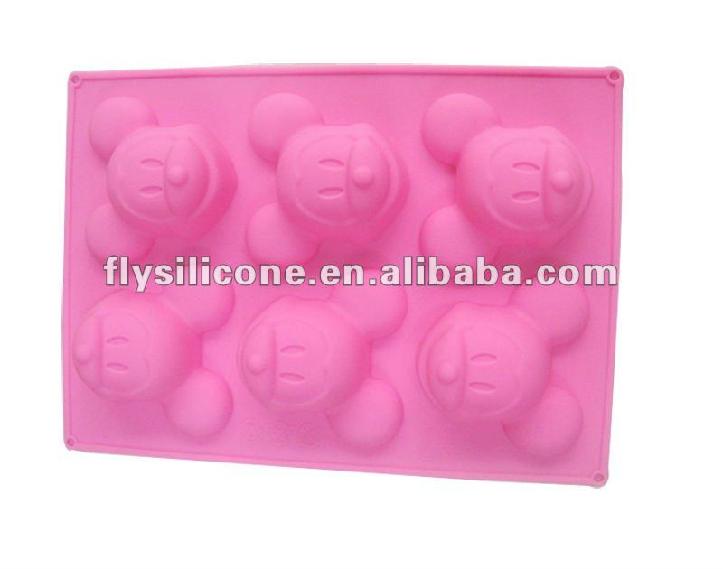 6 pcs Cute Monkey Shaped Chocolate/Cake/Muffin Silicone Molds with Colorful Chance
