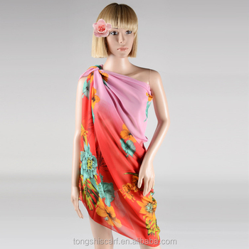 2017 summer chiffon floral pattern magic pareo with custom design