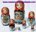 Matrioshka Big Wooden Handpainted Russian Doll with Ethnic Ornament Russian Crafts Folk Art Wholesale, Handmade in Russia
