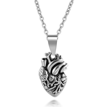 Factory direct three-dimensional 3D science Sstainless steel silver tiny anatomical heart necklace for men women