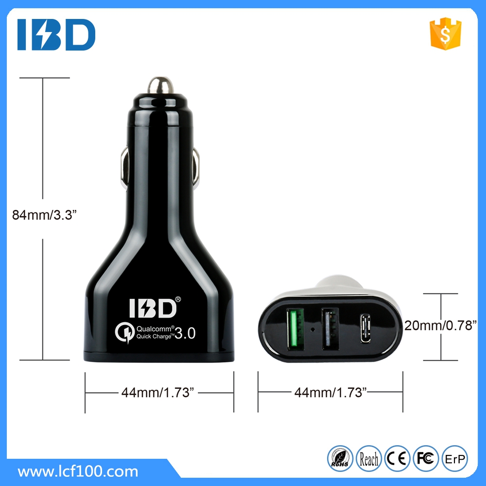 IBD Hot sell 3 port car charger starting car charger qc 3.0 wireless car charger for mobile phone