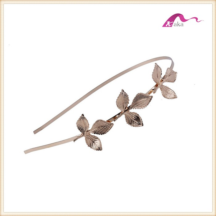 Simple Elegant Gold Leaf Decorative Headbands For Women Wedding Accessories