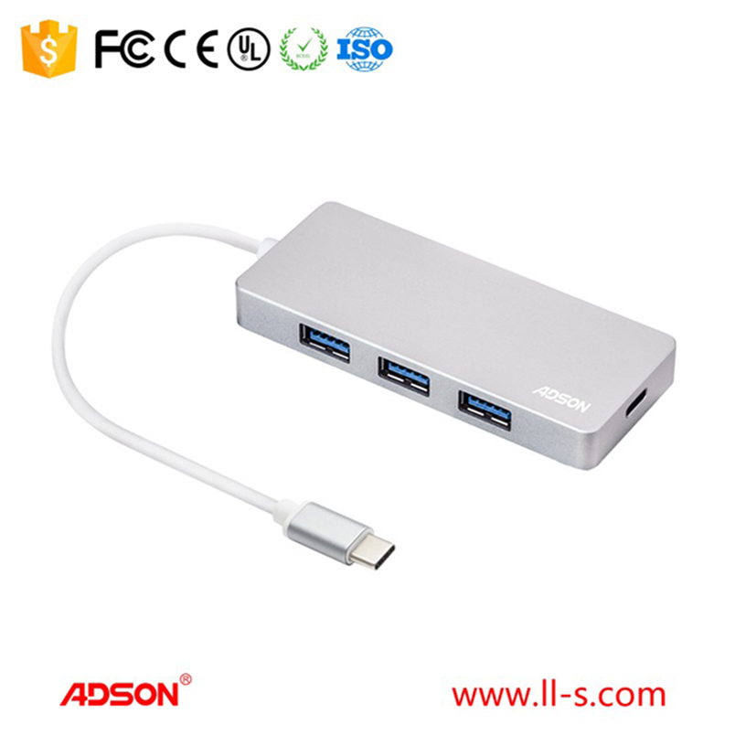 type c 4 in 1 promotion gift usb type c multiport factory USB 2.0 3.0 USB Hub with power swith long cable type c hub