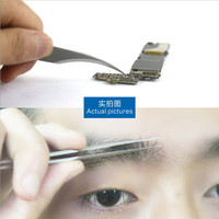 Non magnetic acid proof stainless steel industrial curved tweezers for computer repair tools