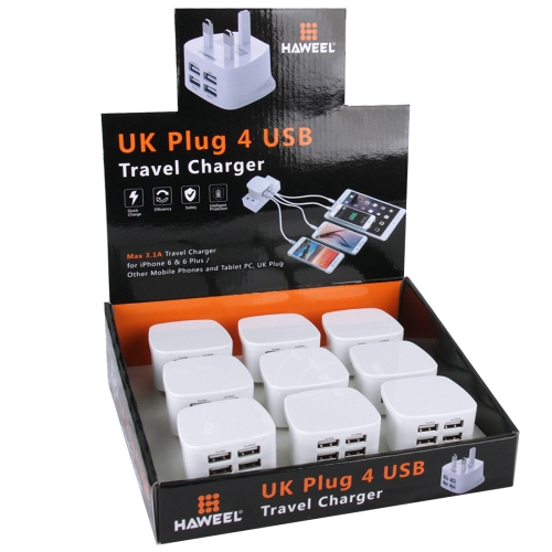 9 Pack UK Plug HAWEEL 4 USB Ports <strong>Max</strong> 3.1A Travel Charger Kit for iPhone 6 & 6 Plus / Other Mobile Phones and Tablet PC
