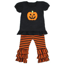 Fashionable pumpkin festival baby boutique cap sleeve pumpkin costume childrens strip ruffle pants kids clothing wholesale