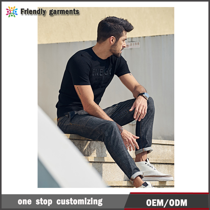 2017 new mens clothing plain black energy letters printing t-shirts