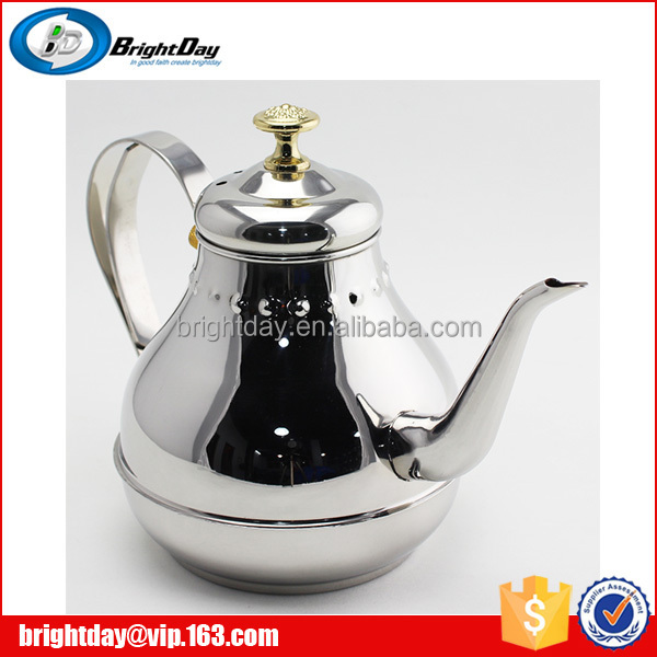 Stainless steel restaurant serving tea kettle