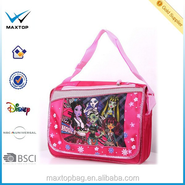 2016 ODM cute fashion kids shoulder bag for girl school use,monster high crossbody bag disny fama factory