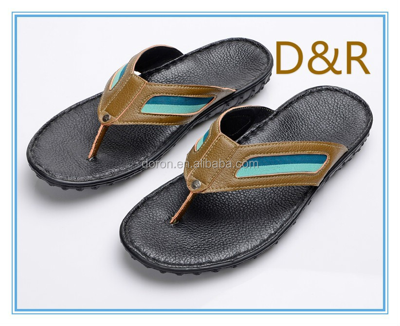 NEW leather flip flops PU outsole handmade shoes for men's slipper