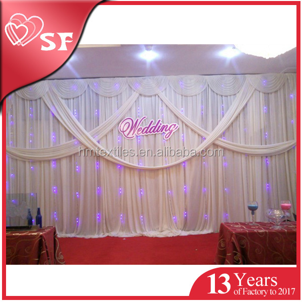 Wedding curtain stage decoration backdrop design sample with best quality