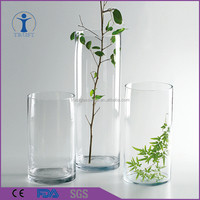 China Factory Personalized Different Size Clear Tall Cylinder Glass Vase
