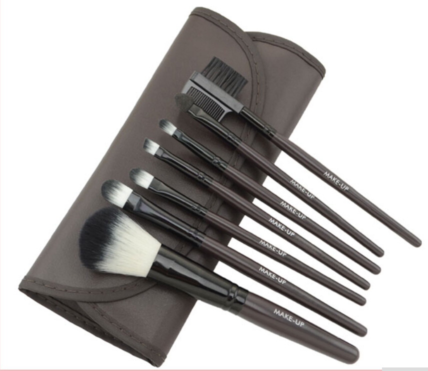 HOT Sale!! Professional 7 pcs Brown makeup brushes set tools Make-up Toiletry Gift Promotion Product