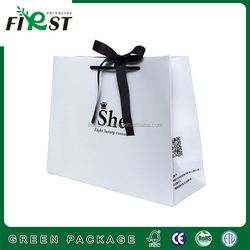 Popular supermarket duotone color paper shopping bag with bowknot and string