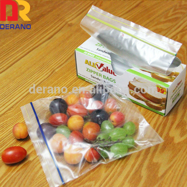 China suppliers 100% LDPE packaging clear transparent freezer zipper bag for vegetables/sandwich packaging