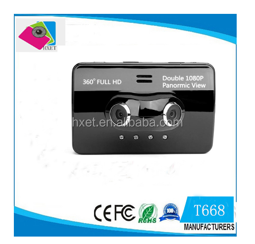 T668 3.5 inch Touch Screen Dual Lens HD 1080P 360 Degree H.264 Car DVR Camera Rear View Video Recorder