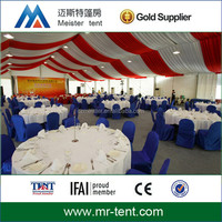 300 people luxury wedding tent with ceiling drapery
