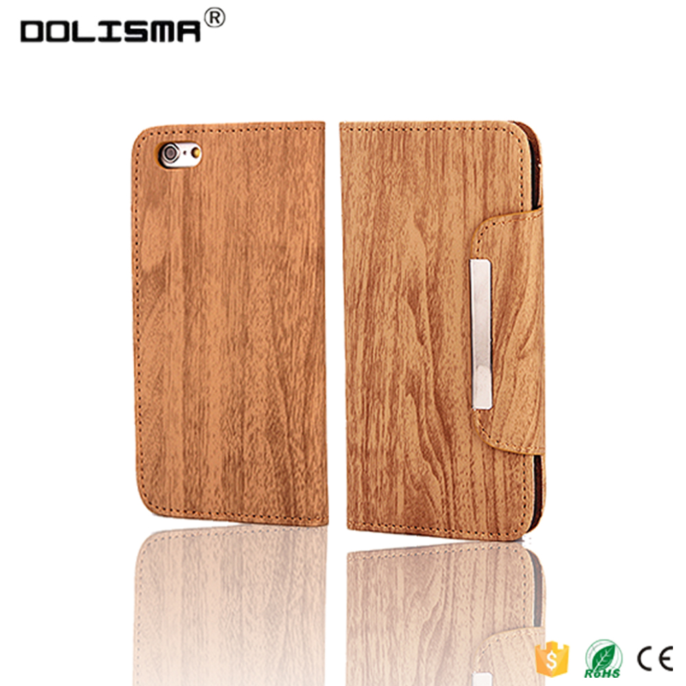 Premium Flip Wallet Case Wood Pattern phone case for iPhone 6 6S 4.7inch