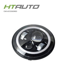 "HTAUTO Latest design 7"" Round 12V 24V high low beam H4 Motorcycle led headlight for J eep W rangler"
