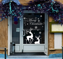 Merry christmas deer wall sticker home decoration shop store window decals