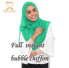 Small MOQ High quality popular wrap solid color plain 2 loops muslim hijab stitched full instant bubble chiffon scarfs