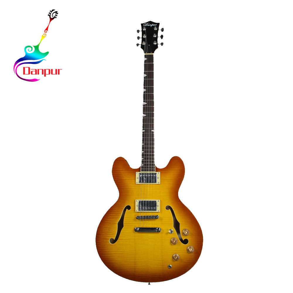 Danpur yellow red esp f hole semi electric guitar finished