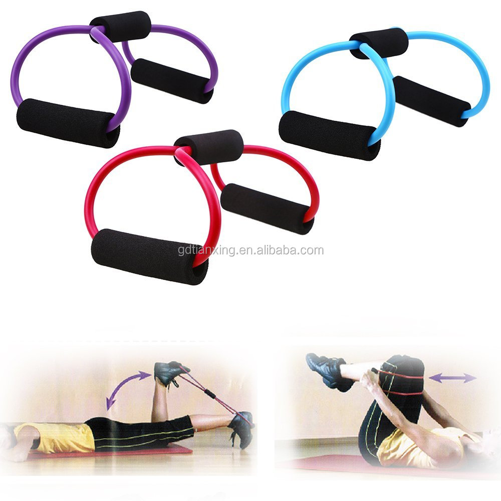 8 Shape Resistance Tube Set Muscle Workout Exercise Yoga Elastic Strap Band