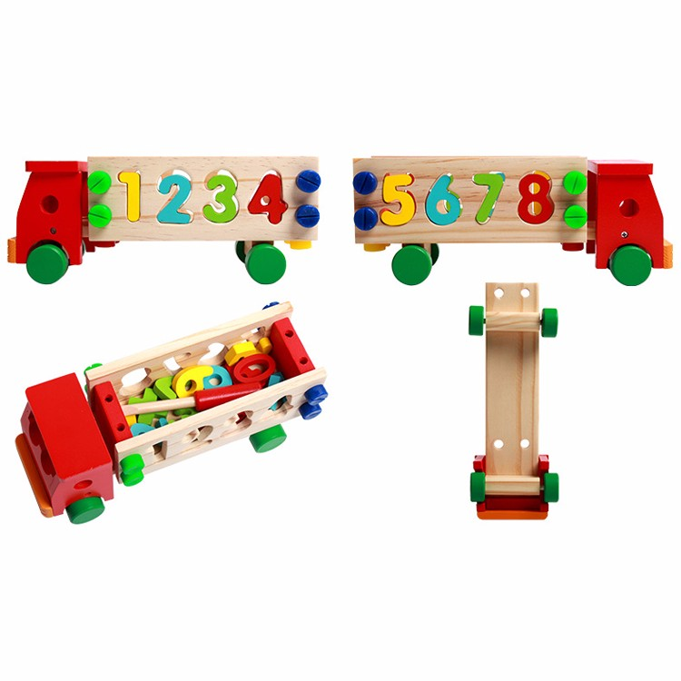 Early childhood wooden automobile assembly car learning toy