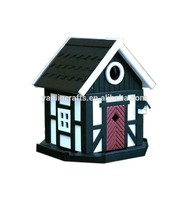 Beautiful outdoor wooden decorated bird nest wood house