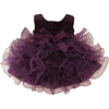 High Quality Purple Fancy Tutu Birthday Party Princess Dress for 3 Years Old Girls