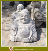 garden sculpture hand carved grey granite laugh stone buddha statue