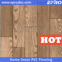 Customized floor covering wood grain pvc sponge flooring for boat floor decor
