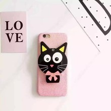 New phone case rotatable black cat 3D pattern mobile phone cover for iphone 6 6s plus