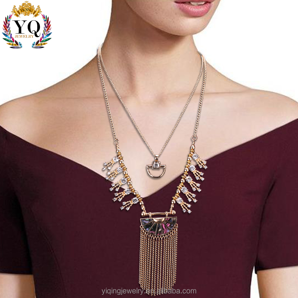 NYQ-00573 elegant beautiful new design diamond tassel gold necklace for woman