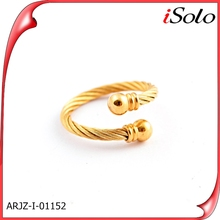 two tone connector new product for 2014 finger ring geniue gold ring