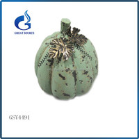 new shape artificial halloween ceramic pumpkin with metal leaves for sale