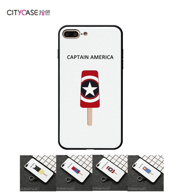 citycase Soft TPU 2 Color Back Q SuperHeros Printing mobile Phone Case for iPhone6 6s 7