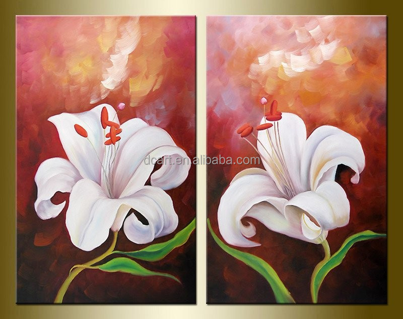 Modular oil painting of 2 parts flower painting picture