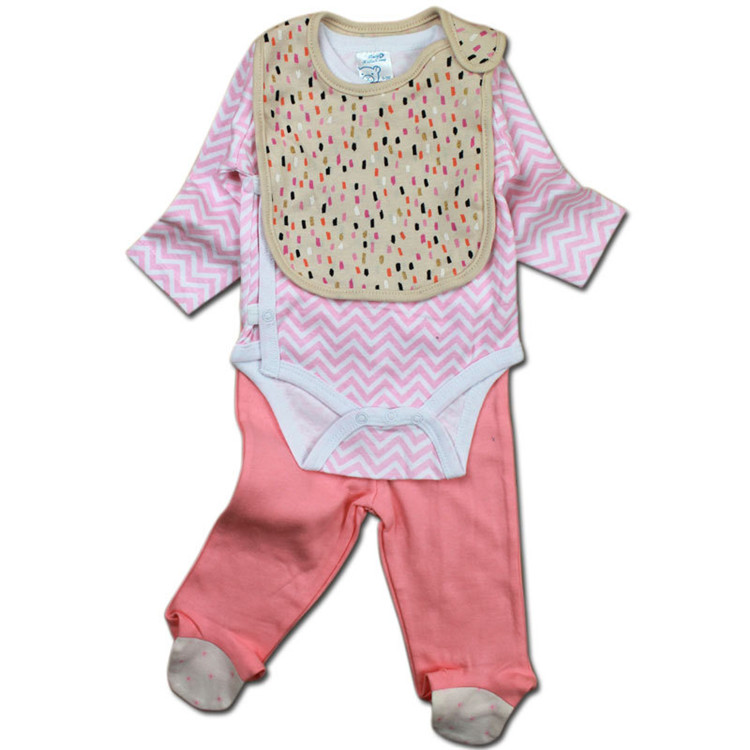 Hot sales baby clothing rompers sets 3pcs infant baby clothes set