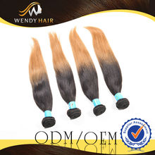 Free Shipping By Dhl Hot Selling New Style 100% Indian Hair Weave Ombre Straight
