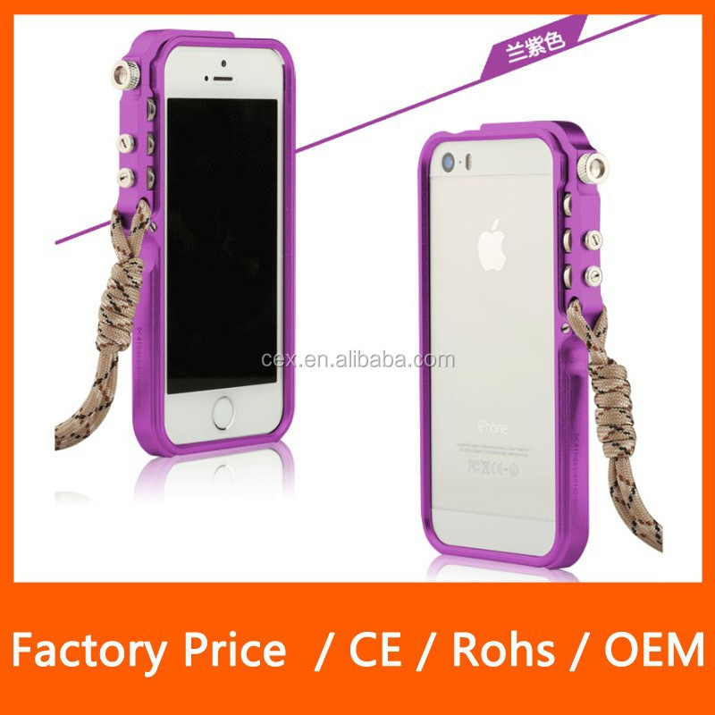 High Quality Luxurious Style Mechanical AlUMINUM Bumper Case For Apple Iphone5/5s With Free Climbing rope