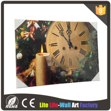 led wall canvas picture with clock decoration light