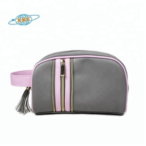 Top quality custom PU leather vanity pouch ladies cosmetic bag case with tassel