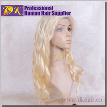 Alibaba fr best selling 613 blond hair body wave virgin Peruvian human hair lace front wigs with bangs