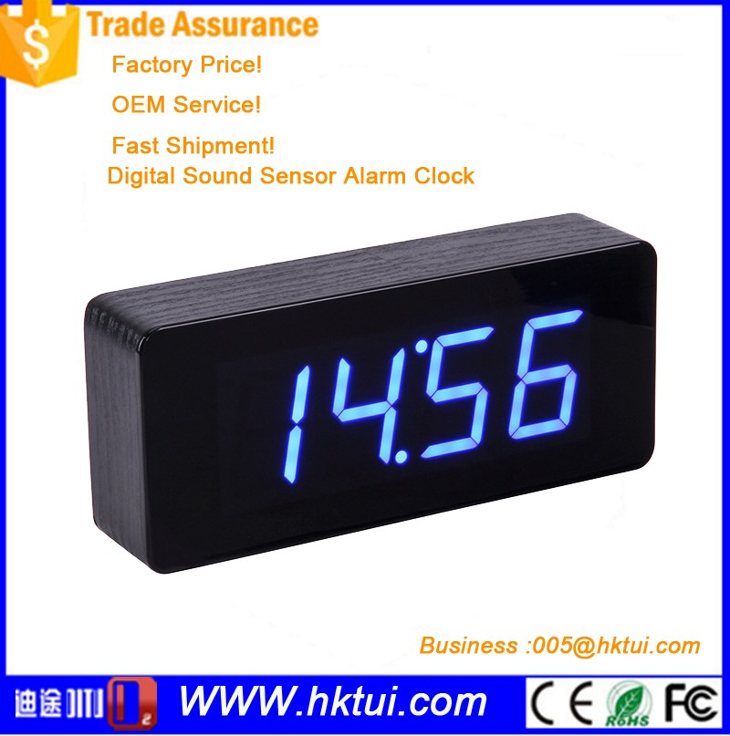USB/AAA Mini Digital Led Wooden Alarm Clock Temp Date Display Calendars Desk Table Clock