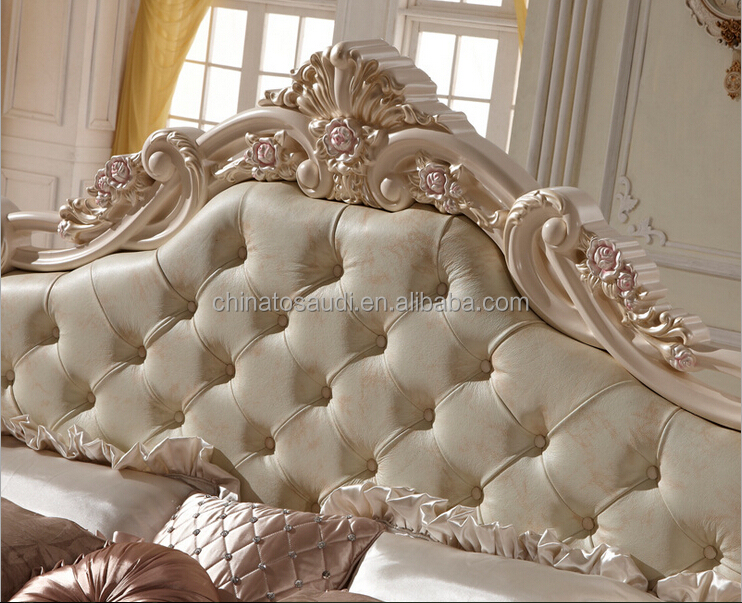 Modern Luxury Royal French Style King Queen Size Cream White Leather Bed bedroom furniture
