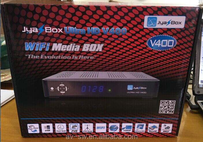 original digital satellite receiver jyazbox ultra hd V400 with jb200 turbo 8psk module and wifi universal remote control