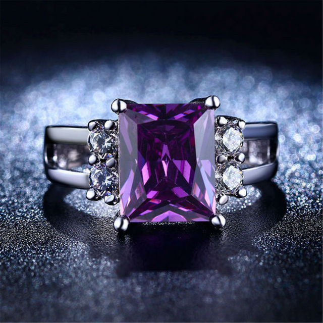 Fashion purple Amethyst Rectangular big stone Silver Rings For Women white gold plated bague female jewelry rings alliance L313
