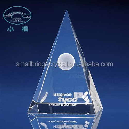Laser engraved crystal glass pyramid paperweight